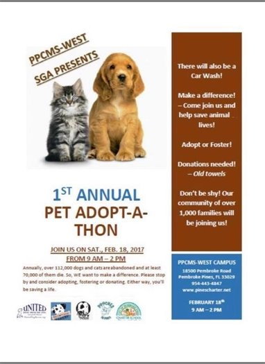 Pet Adopt/Foster-A-Thon and Car Wash Saturday, February 18, 2017 * 9:00 a.m. until 2:00 p.m.