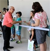 Mayor Ortis greeting kids