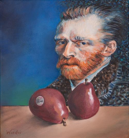 Red Pears in Front of Van Gogh