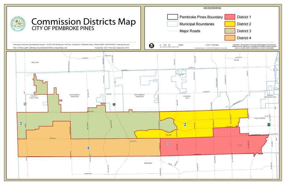 Florida Map Cities.City Wide Commission Map Pembroke Pines Fl Official Website