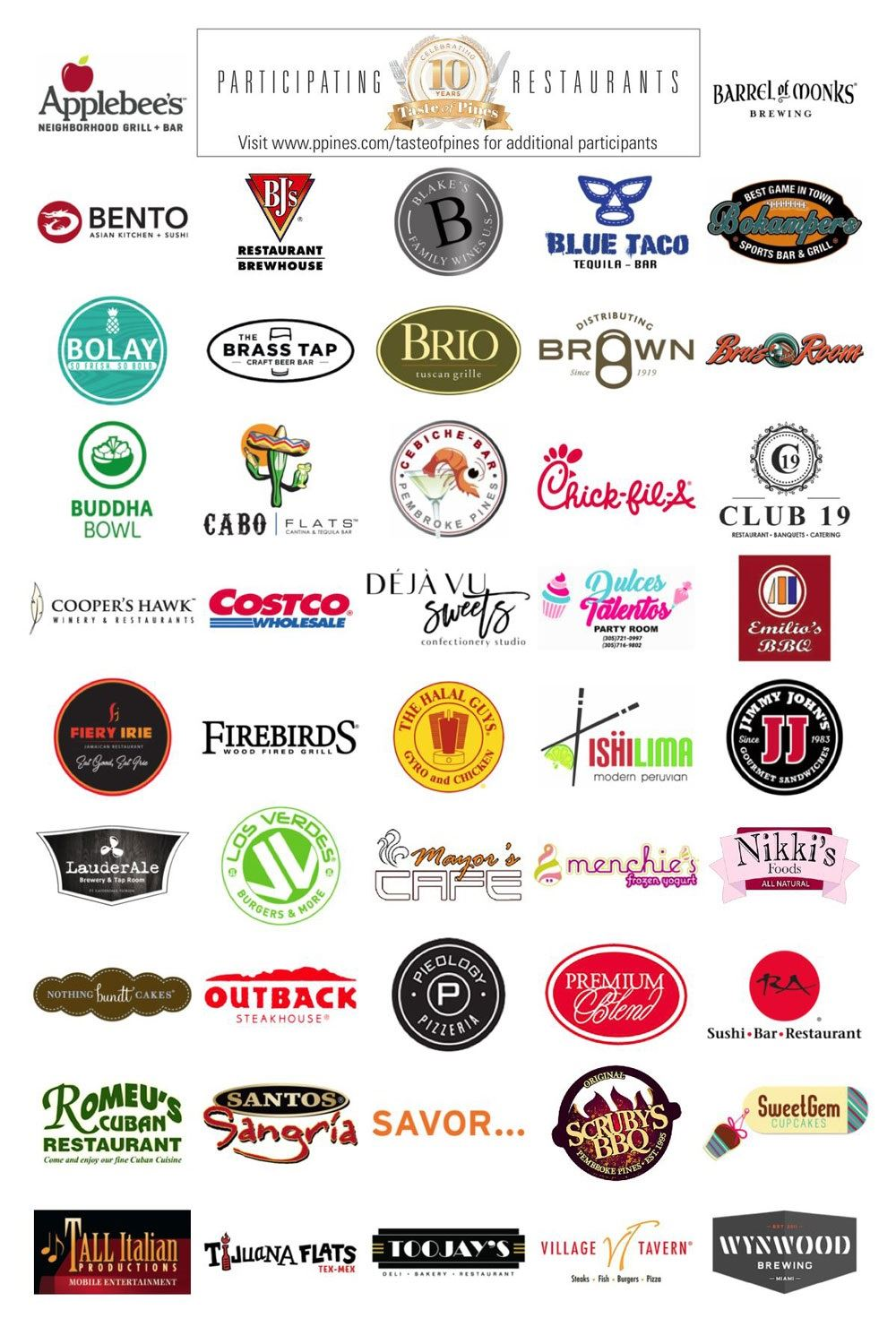 Taste-of-Pines-Participating-Restaurants 2019 Logos