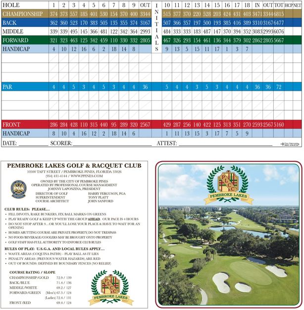 Pembroke Lakes Golf - Scorecard