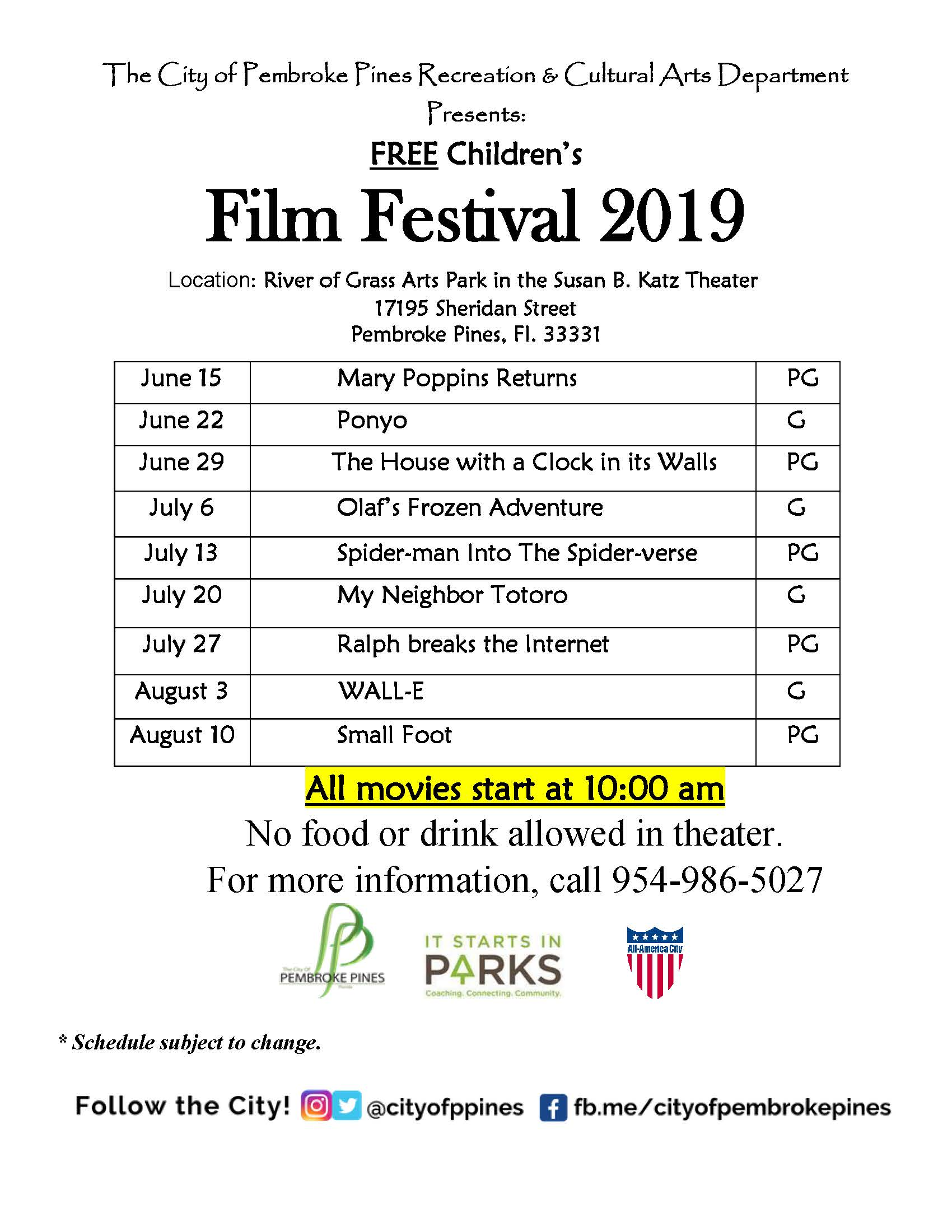 Film festival 2019 schedule of films