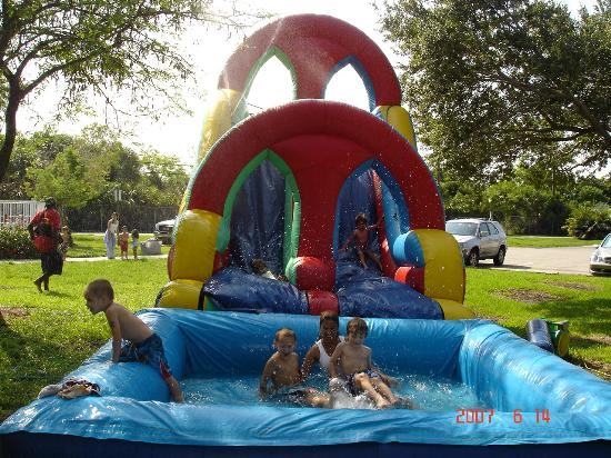 Children in a bounce house