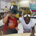 Kids wearing animal masks