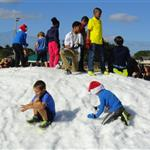 Snow Mound with children playing